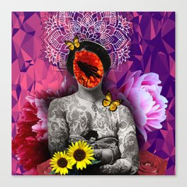 Girl with tattoo and flowers Canvas Print