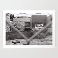 Graffiti Fence Collingwood Black & White Photography Art Print