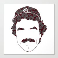 tom selleck Canvas Prints featuring Great Mustaches - Selleck by Luke Woody