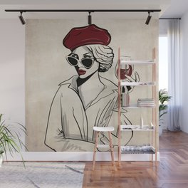 My Style is Red Wine - Sassy City Girl in Shades Wall Mural