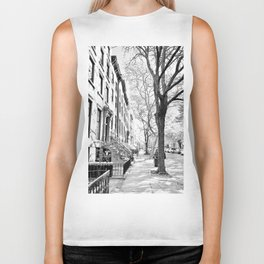 Cobble Hill Brooklyn Winter Black and White Brownstone Biker Tank