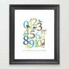 Animal Numbers -  Grass Stains colorway Framed Art Print