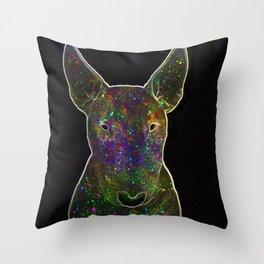 Cosmic bullterrier Throw Pillow