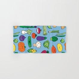 Cute Smiling Happy Veggies on blue background Hand & Bath Towel