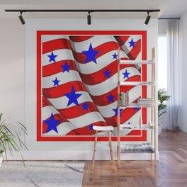 RED PATRIOTIC JULY 4TH BLUE STARS AMERICANA ART Wall Mural