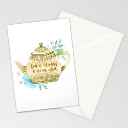Watercolor Teapot Flowers Stationery Cards