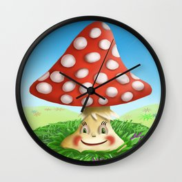 Happy Fly Agaric in the sunny day Wall Clock