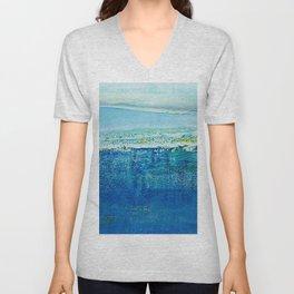 Blue Abstract Painting, Modern, Minimalist Art Unisex V-Neck