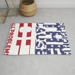 (tshirt) Religoin is the cause o fall problems (horizontal flag) Rug