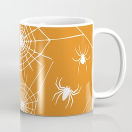 Spooky Halloween Spiders and Webs~ Orange Background Coffee Mug