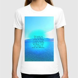 Serenity Prayer With Blue Ocean and Amazing Sky T-shirt