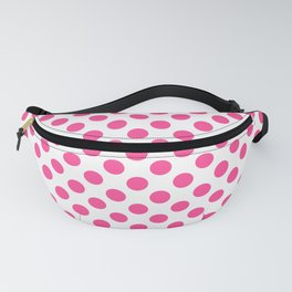 Pink polkadots dots circles on white background Fanny Pack