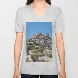 Uçhisar Castle, Cappadocia Buildings Unisex V-Neck
