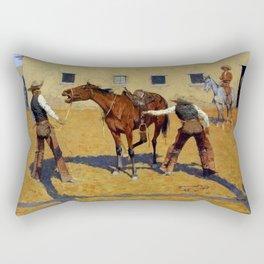 "Frederic Remington Western Art ""His First Lesson"" Rectangular Pillow"