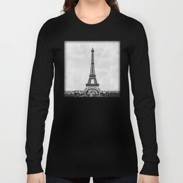 Eiffel tower, Paris France in black and white with painterly effect Long Sleeve T-shirt