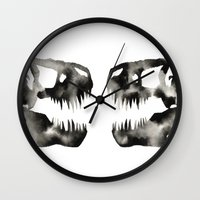 trex Wall Clocks featuring Inkblot Trex Dinosaur by GeometricInk