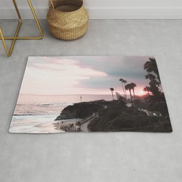 Laguna Beach | LoFi Relaxed Aesthetic Pinkish Sunset Palm Trees Hippie Ocean Horizon Waves Rug