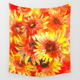 Blanket Flowers Bright Orange, Red, Yellow Flowers Wall Tapestry