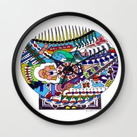 john snow Wall Clocks featuring Snow Globe by JOHN RUSSELL ABSTRACTS
