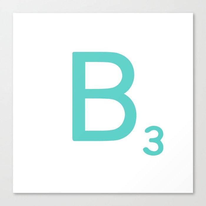 Custom Blue Scrabble Letter B Canvas Print