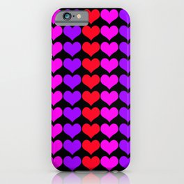 Bright Hearts Print Black Background iPhone Case