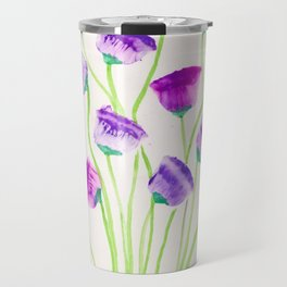 Flowers Forever - Purple and Green Travel Mug