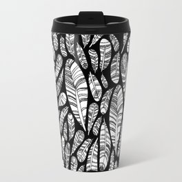 Tribal Feathers // Black Travel Mug