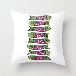 Row Of Fish Throw Pillow
