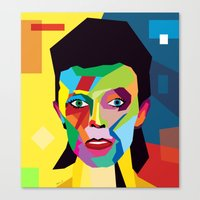 bowie Canvas Prints featuring bowie by mark ashkenazi