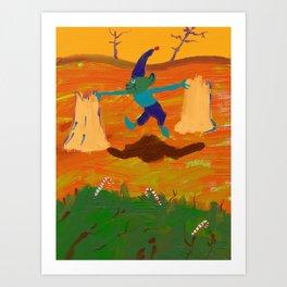 Angry elf land Art Print