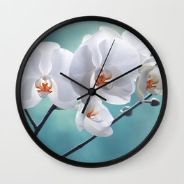 Orchid white macro 084 Wall Clock