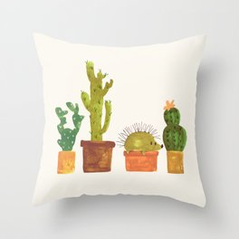 Hedgehog and Cactus (incognito) Throw Pillow
