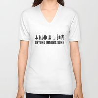 battlestar V-neck T-shirts featuring Beyond imagination: Millenium Falcon postage stamp  by Chungkong