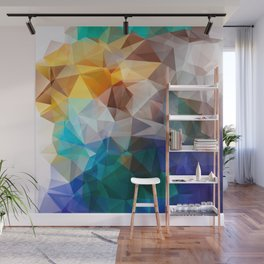 Blue yellow turquoise polygon Wall Mural