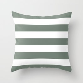 Smoke - solid color - white stripes pattern Throw Pillow