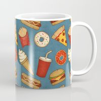 junk food Mugs featuring Fast Food by Tracie Andrews