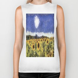 Sunflower Summers Van Gogh Biker Tank