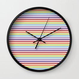 Modern artistic geometrical colorful violet orange green stripes Wall Clock