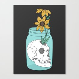Skull in Jar with Flowers Canvas Print