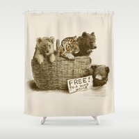 tigers Shower Curtains featuring Lions and Tigers and Bears by Eric Fan