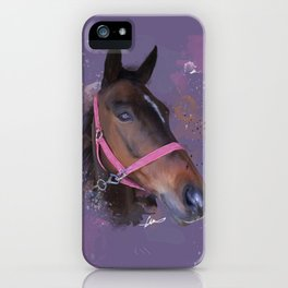 Brown Watercolour Pony Purple iPhone Case