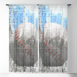 baseball painting vs 12 Sheer Curtain