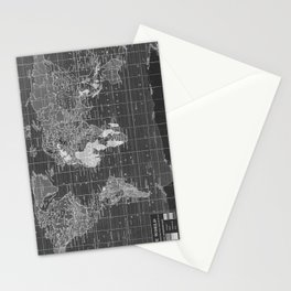 Black and White Vintage World Map Stationery Cards