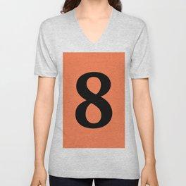 8 (BLACK & CORAL NUMBERS) Unisex V-Neck