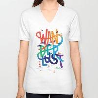 wanderlust V-neck T-shirts featuring Wanderlust by Wharton