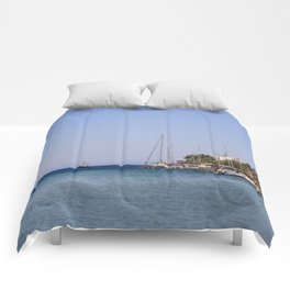Boats at Datca Comforters