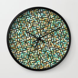 grid in brown and green with shapes Wall Clock