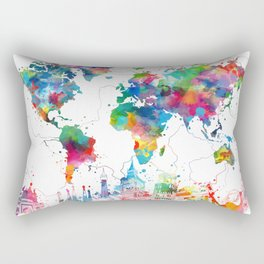 world map watercolor collage Rectangular Pillow
