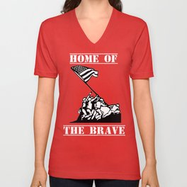 Patriotic Veterans Day Shirt Home Of The Brave Unisex V-Neck