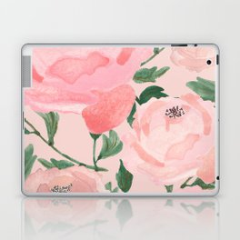 Watercolor Peonies with Blush Background Laptop & iPad Skin
